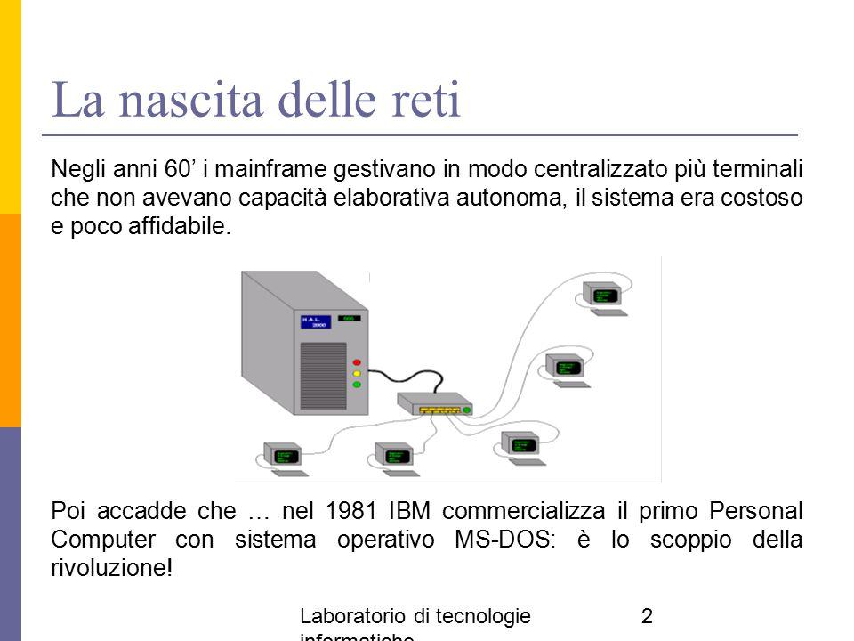 Laboratorio di tecnologie informatiche 2 La nascita delle reti Negli anni 60' i mainframe gestivano in modo centralizzato più terminali che non avevan