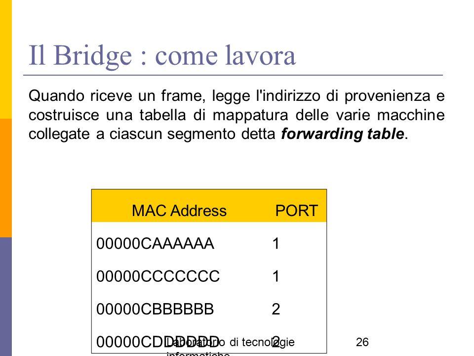 Laboratorio di tecnologie informatiche 26 Il Bridge : come lavora Quando riceve un frame, legge l'indirizzo di provenienza e costruisce una tabella di