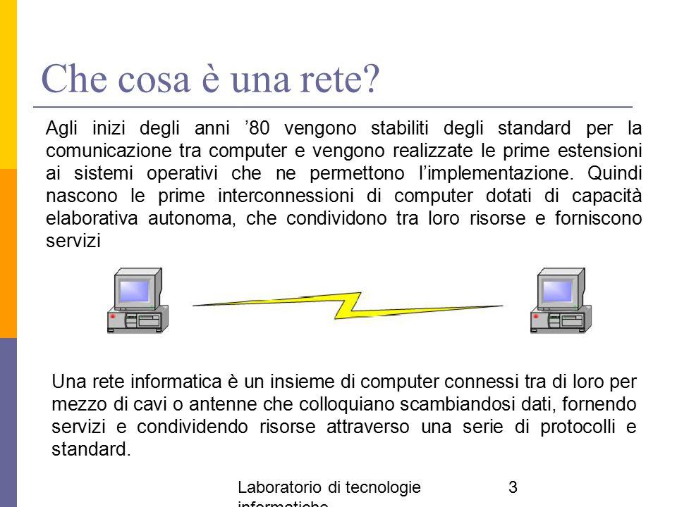 Laboratorio di tecnologie informatiche 3 Che cosa è una rete? Una rete informatica è un insieme di computer connessi tra di loro per mezzo di cavi o a