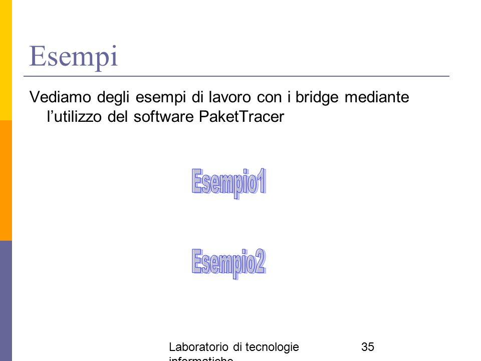 Laboratorio di tecnologie informatiche 35 Esempi Vediamo degli esempi di lavoro con i bridge mediante l'utilizzo del software PaketTracer