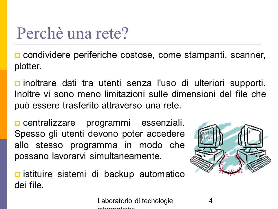 Laboratorio di tecnologie informatiche 4 Perchè una rete?  centralizzare programmi essenziali. Spesso gli utenti devono poter accedere allo stesso pr