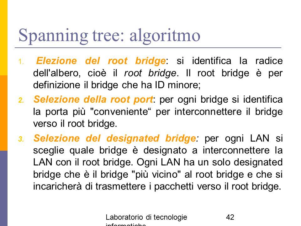 Laboratorio di tecnologie informatiche 42 Spanning tree: algoritmo 1. Elezione del root bridge: si identifica la radice dell'albero, cioè il root brid