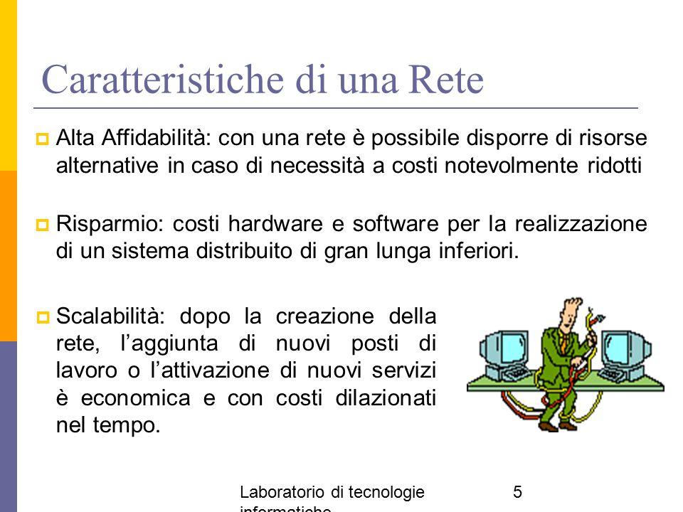 Laboratorio di tecnologie informatiche 5 Caratteristiche di una Rete  Scalabilità: dopo la creazione della rete, l'aggiunta di nuovi posti di lavoro