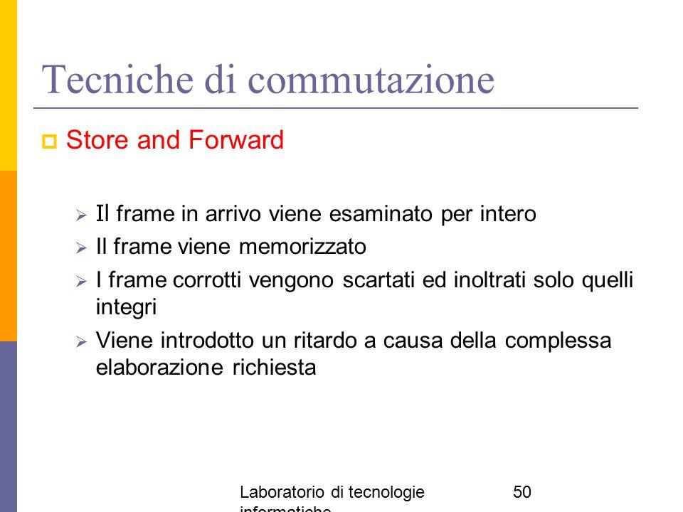 Laboratorio di tecnologie informatiche 50 Tecniche di commutazione  Store and Forward  Il frame in arrivo viene esaminato per intero  Il frame vien