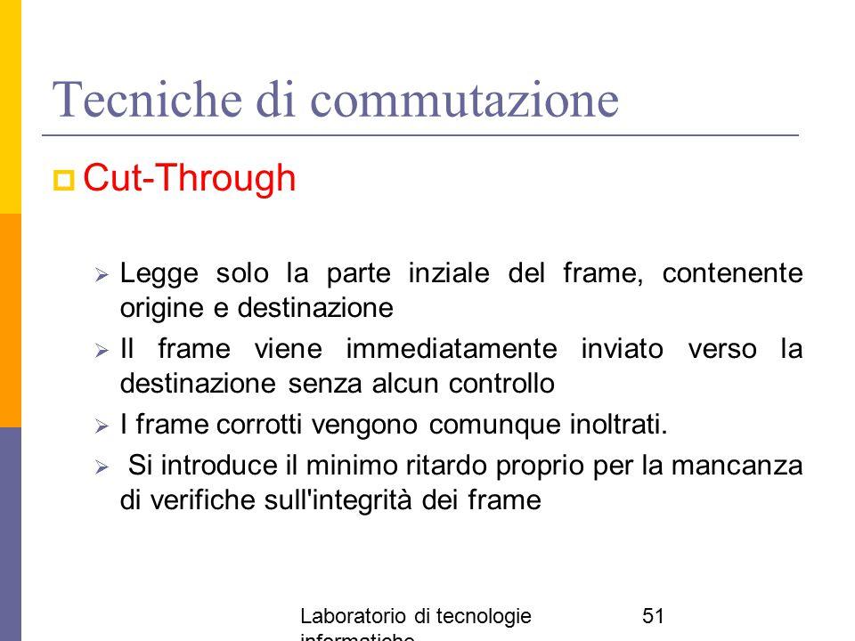 Laboratorio di tecnologie informatiche 51 Tecniche di commutazione  Cut-Through  Legge solo la parte inziale del frame, contenente origine e destina