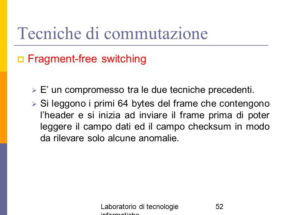 Laboratorio di tecnologie informatiche 52 Tecniche di commutazione  Fragment-free switching  E' un compromesso tra le due tecniche precedenti.  Si