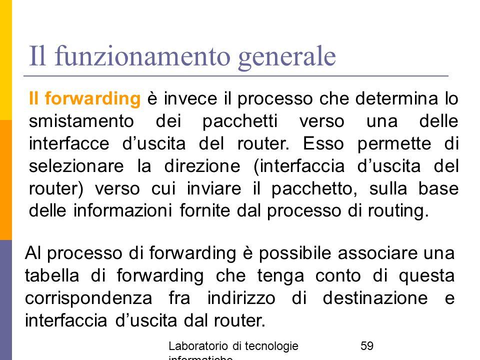 Laboratorio di tecnologie informatiche 59 Il funzionamento generale Il forwarding è invece il processo che determina lo smistamento dei pacchetti vers