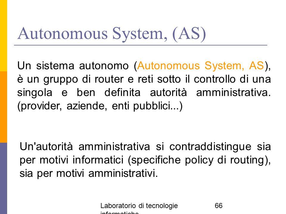 Laboratorio di tecnologie informatiche 66 Autonomous System, (AS) Un sistema autonomo (Autonomous System, AS), è un gruppo di router e reti sotto il c