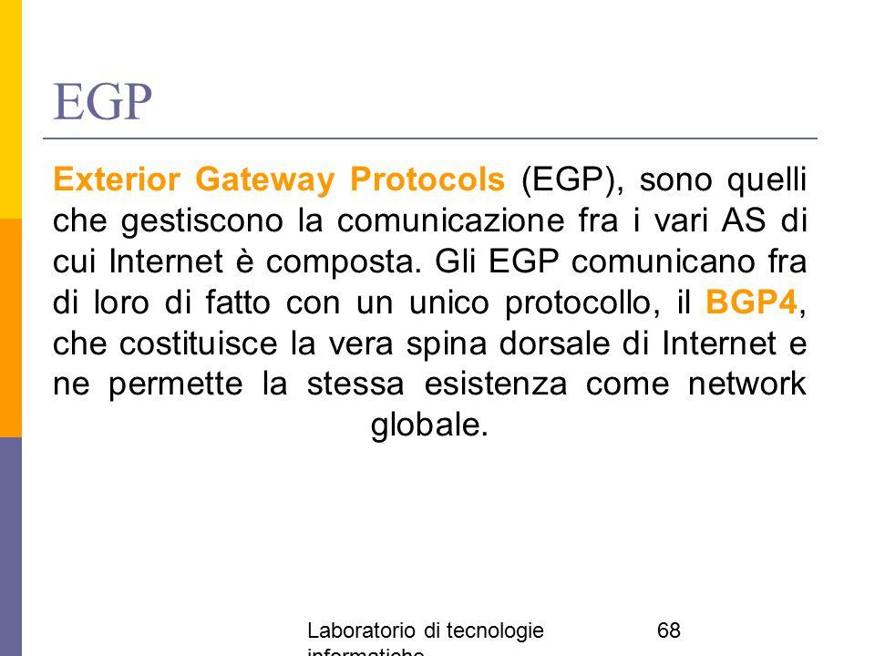 Laboratorio di tecnologie informatiche 68 EGP Exterior Gateway Protocols (EGP), sono quelli che gestiscono la comunicazione fra i vari AS di cui Inter