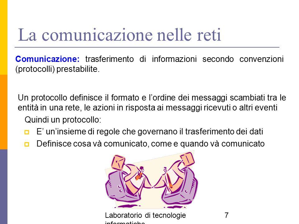 Laboratorio di tecnologie informatiche 7 La comunicazione nelle reti Comunicazione: trasferimento di informazioni secondo convenzioni (protocolli) pre