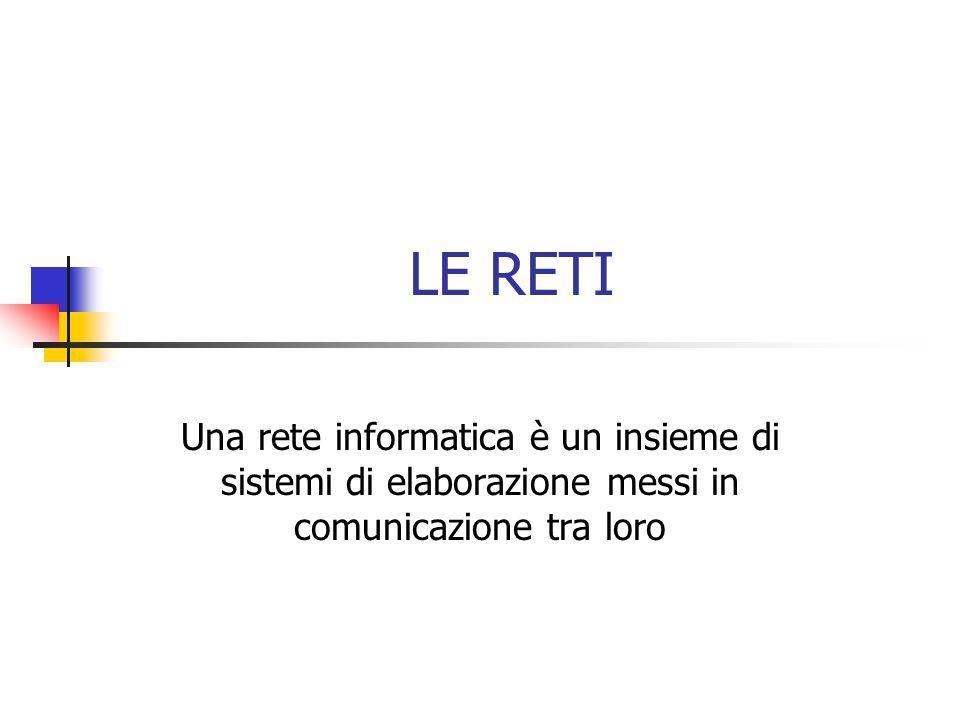 LE RETI Una rete informatica è un insieme di sistemi di elaborazione messi in comunicazione tra loro
