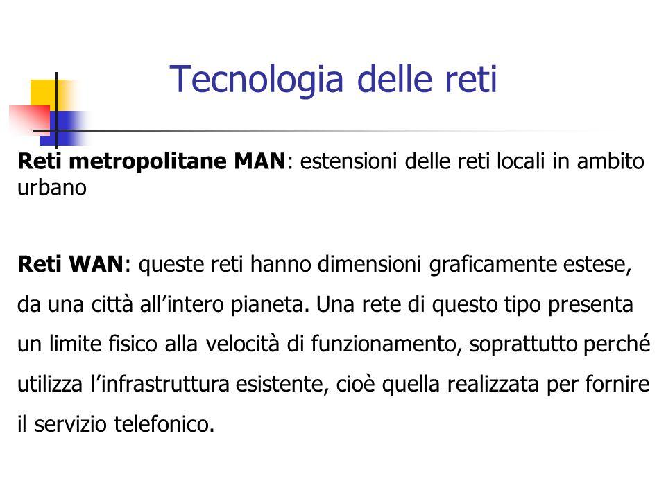 Tecnologia delle reti Reti metropolitane MAN: estensioni delle reti locali in ambito urbano Reti WAN: queste reti hanno dimensioni graficamente estese, da una città all'intero pianeta.
