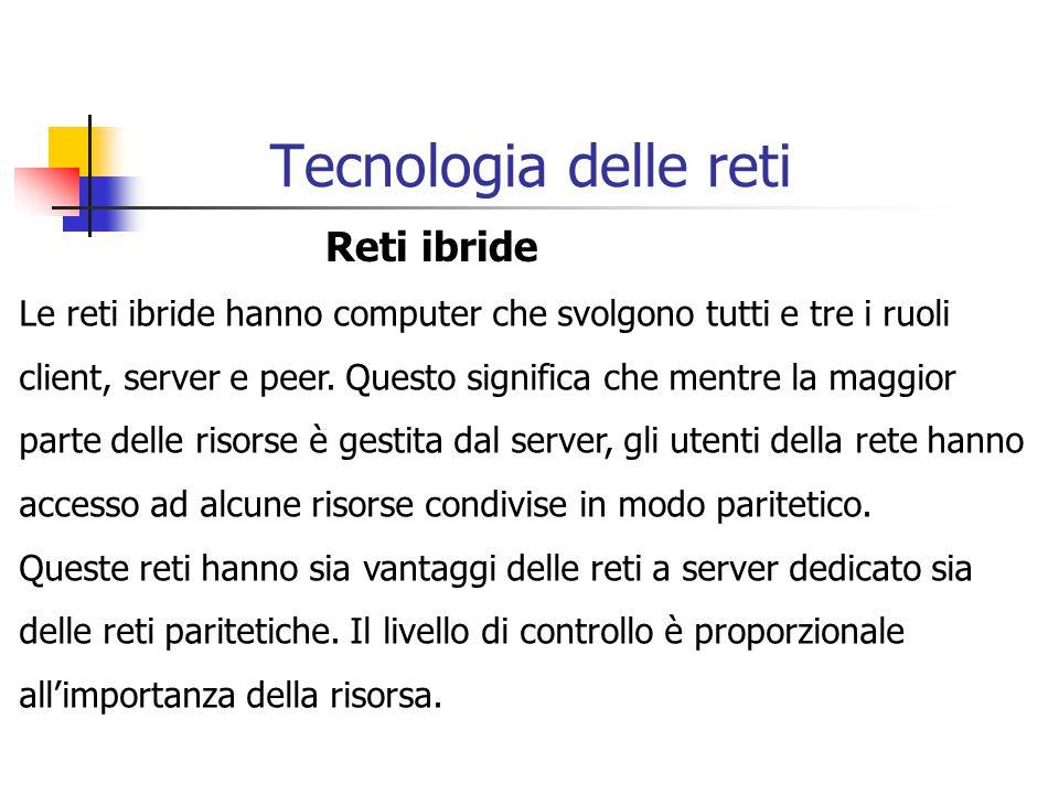 Tecnologia delle reti Reti ibride Le reti ibride hanno computer che svolgono tutti e tre i ruoli client, server e peer. Questo significa che mentre la