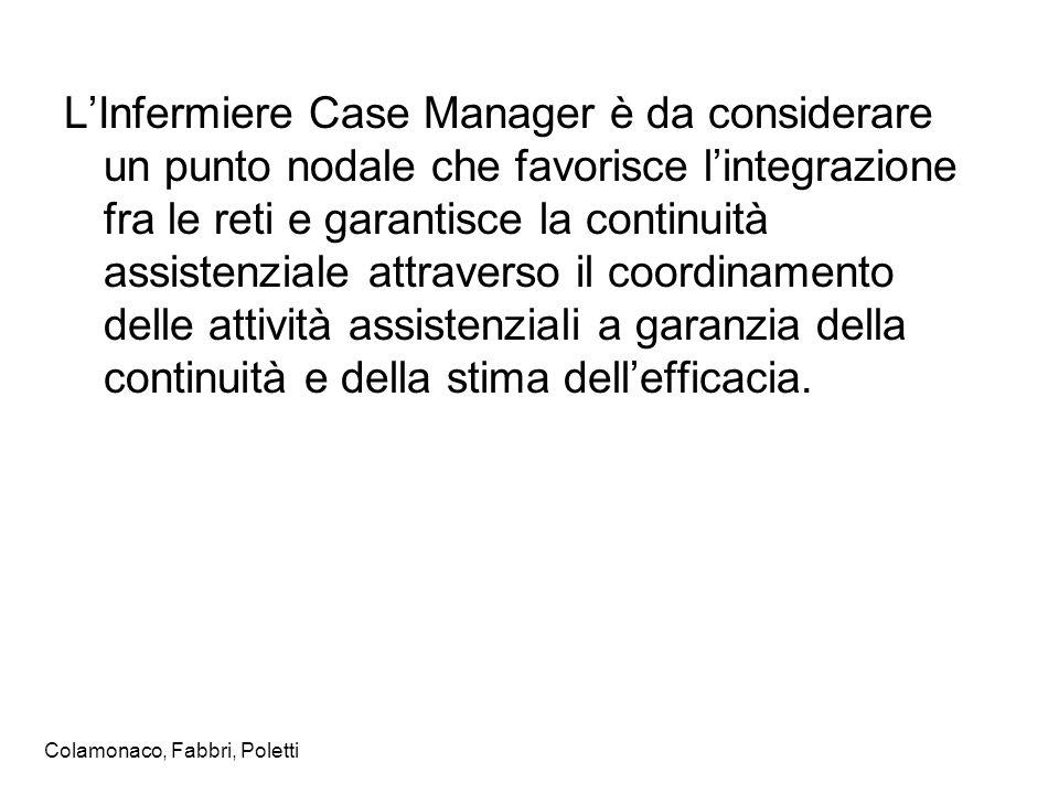 L'Infermiere Case Manager è da considerare un punto nodale che favorisce l'integrazione fra le reti e garantisce la continuità assistenziale attravers