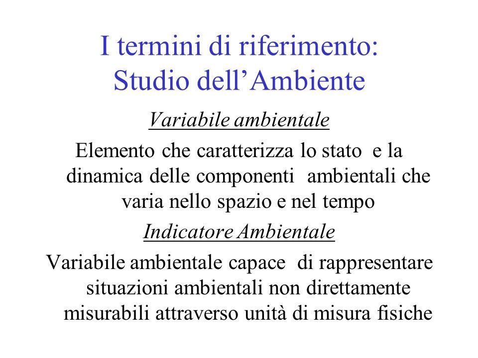 I termini di riferimento: Studio dell'Ambiente Variabile ambientale Elemento che caratterizza lo stato e la dinamica delle componenti ambientali che v