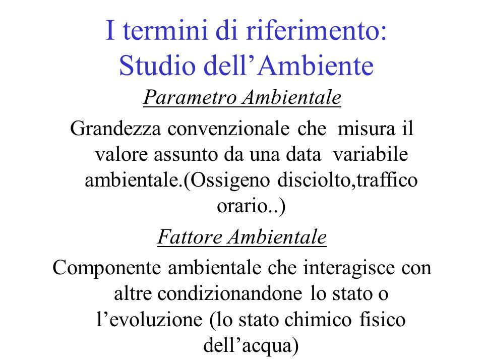 I termini di riferimento: Studio dell'Ambiente Parametro Ambientale Grandezza convenzionale che misura il valore assunto da una data variabile ambient