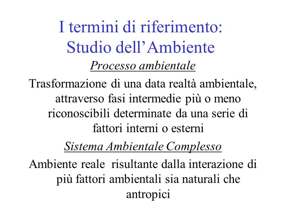 I termini di riferimento: Studio dell'Ambiente Processo ambientale Trasformazione di una data realtà ambientale, attraverso fasi intermedie più o meno