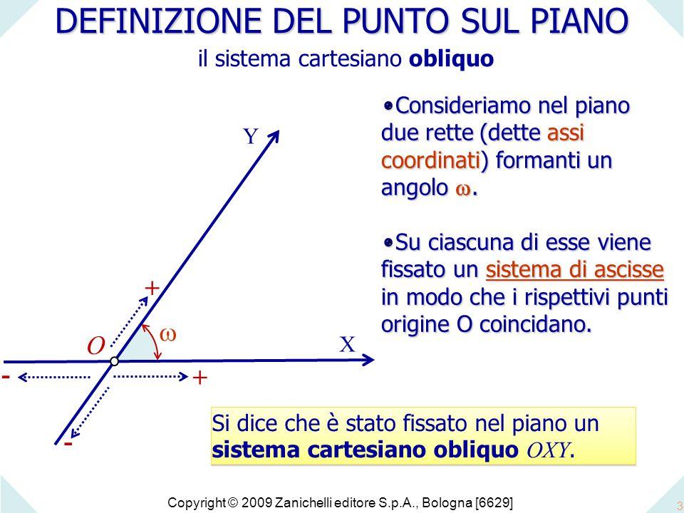Copyright © 2009 Zanichelli editore S.p.A., Bologna [6629] 3 DEFINIZIONE DEL PUNTO SUL PIANO DEFINIZIONE DEL PUNTO SUL PIANO il sistema cartesiano obliquo O X + - - +  Y Si dice che è stato fissato nel piano un sistema cartesiano obliquo OXY.
