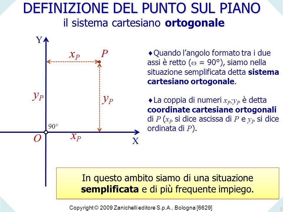 Copyright © 2009 Zanichelli editore S.p.A., Bologna [6629] 5 DEFINIZIONE DEL PUNTO SUL PIANO DEFINIZIONE DEL PUNTO SUL PIANO il sistema cartesiano ortogonale O P xPxP X Y yPyP  Quando l'angolo formato tra i due assi è retto (  = 90°), siamo nella situazione semplificata detta sistema cartesiano ortogonale.