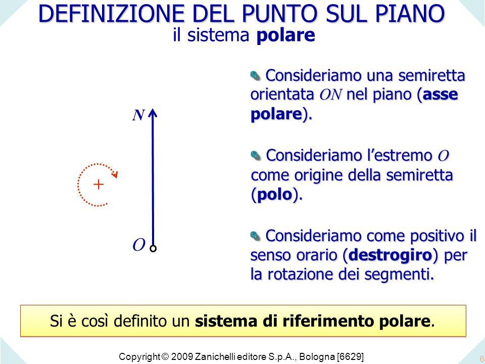Copyright © 2009 Zanichelli editore S.p.A., Bologna [6629] 6 Consideriamo una semiretta orientata ON nel piano (asse polare). Consideriamo una semiret
