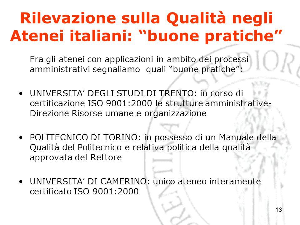 """13 Rilevazione sulla Qualità negli Atenei italiani: """"buone pratiche"""" Fra gli atenei con applicazioni in ambito dei processi amministrativi segnaliamo"""