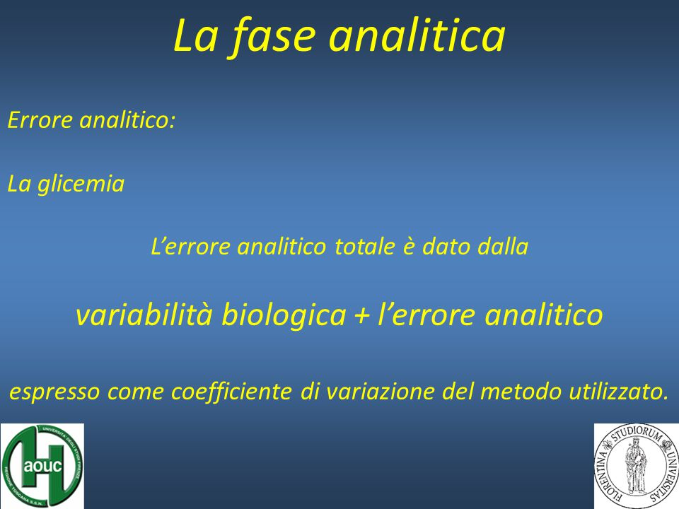 La fase analitica Errore analitico: La glicemia L'errore analitico totale è dato dalla variabilità biologica + l'errore analitico espresso come coeffi