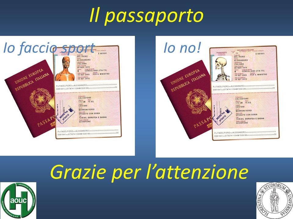 Il passaporto Io no!Io faccio sport Grazie per l'attenzione