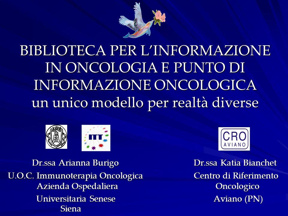 BIBLIOTECA PER L'INFORMAZIONE IN ONCOLOGIA E PUNTO DI INFORMAZIONE ONCOLOGICA un unico modello per realtà diverse Dr.ssa Arianna Burigo Dr.ssa Katia B