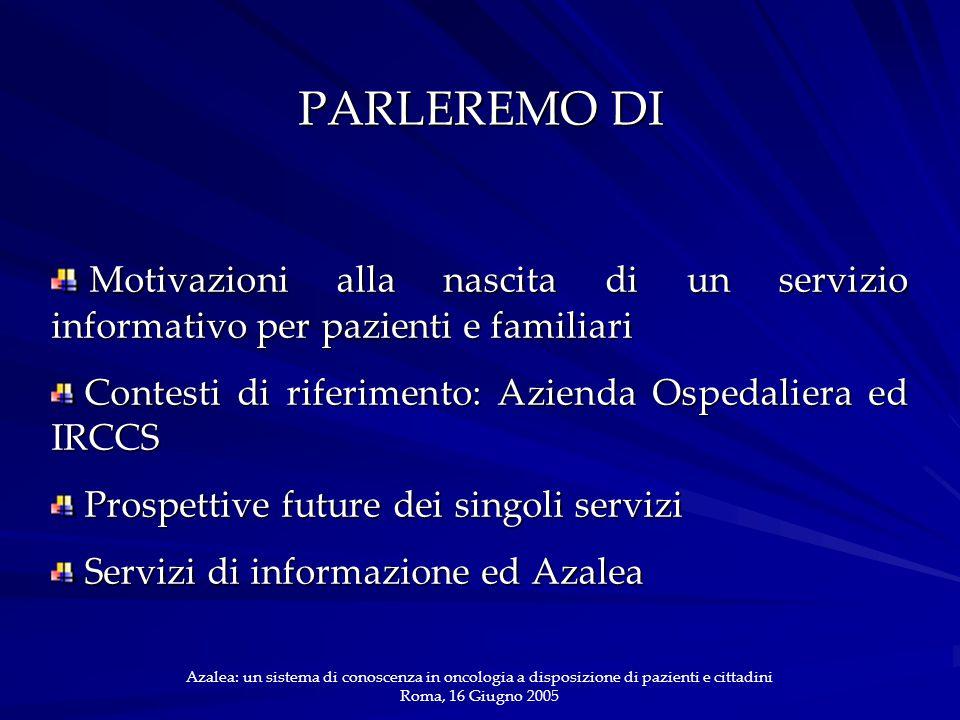 PARLEREMO DI Motivazioni alla nascita di un servizio informativo per pazienti e familiari Motivazioni alla nascita di un servizio informativo per pazi