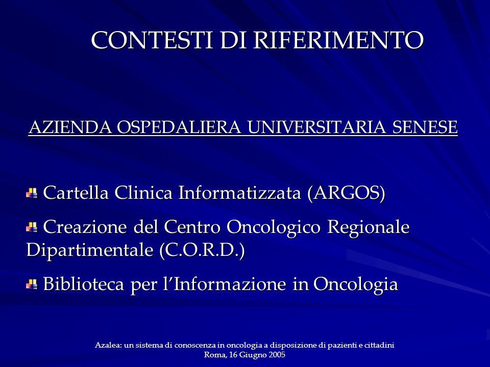 CONTESTI DI RIFERIMENTO AZIENDA OSPEDALIERA UNIVERSITARIA SENESE Cartella Clinica Informatizzata (ARGOS) Cartella Clinica Informatizzata (ARGOS) Creaz