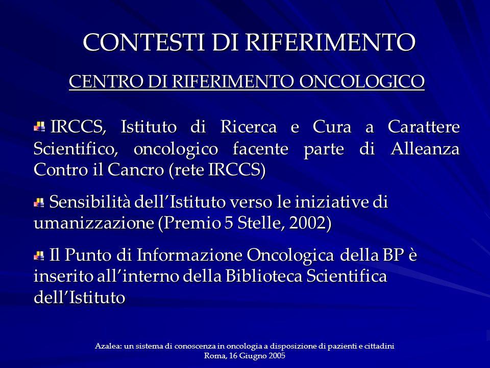 CONTESTI DI RIFERIMENTO CENTRO DI RIFERIMENTO ONCOLOGICO IRCCS, Istituto di Ricerca e Cura a Carattere Scientifico, oncologico facente parte di Alleanza Contro il Cancro (rete IRCCS) IRCCS, Istituto di Ricerca e Cura a Carattere Scientifico, oncologico facente parte di Alleanza Contro il Cancro (rete IRCCS) Sensibilità dell'Istituto verso le iniziative di umanizzazione (Premio 5 Stelle, 2002) Sensibilità dell'Istituto verso le iniziative di umanizzazione (Premio 5 Stelle, 2002) Il Punto di Informazione Oncologica della BP è inserito all'interno della Biblioteca Scientifica dell'Istituto Il Punto di Informazione Oncologica della BP è inserito all'interno della Biblioteca Scientifica dell'Istituto Azalea: un sistema di conoscenza in oncologia a disposizione di pazienti e cittadini Roma, 16 Giugno 2005