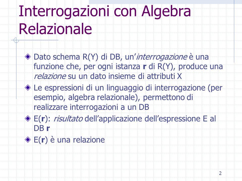 2 Interrogazioni con Algebra Relazionale Dato schema R(Y) di DB, un'interrogazione è una funzione che, per ogni istanza r di R(Y), produce una relazione su un dato insieme di attributi X Le espressioni di un linguaggio di interrogazione (per esempio, algebra relazionale), permettono di realizzare interrogazioni a un DB E(r): risultato dell'applicazione dell'espressione E al DB r E(r) è una relazione