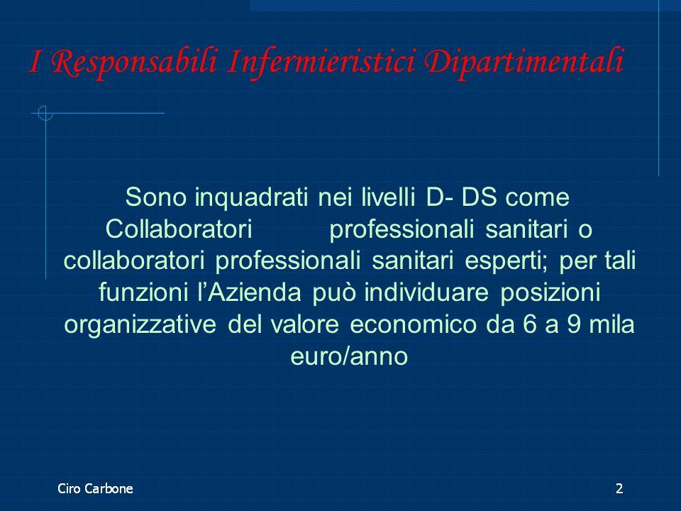 I Responsabili Infermieristici Dipartimentali Sono inquadrati nei livelli D- DS come Collaboratori professionali sanitari o collaboratori professional