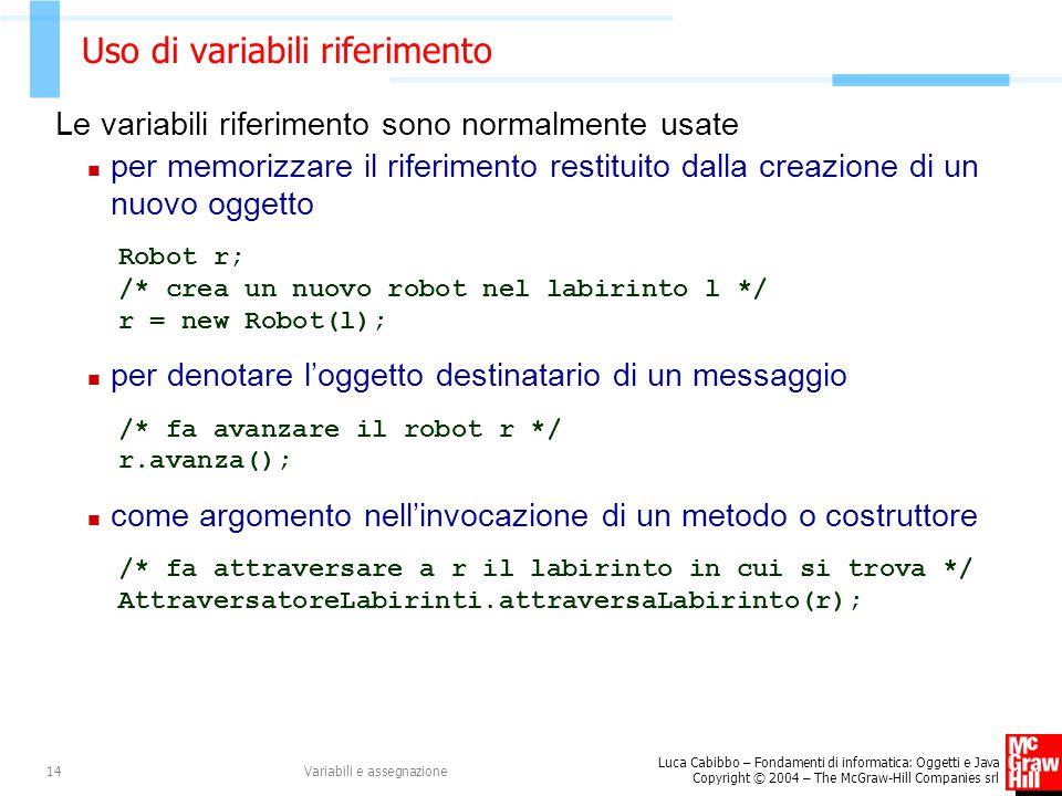 Luca Cabibbo – Fondamenti di informatica: Oggetti e Java Copyright © 2004 – The McGraw-Hill Companies srl Variabili e assegnazione14 Uso di variabili