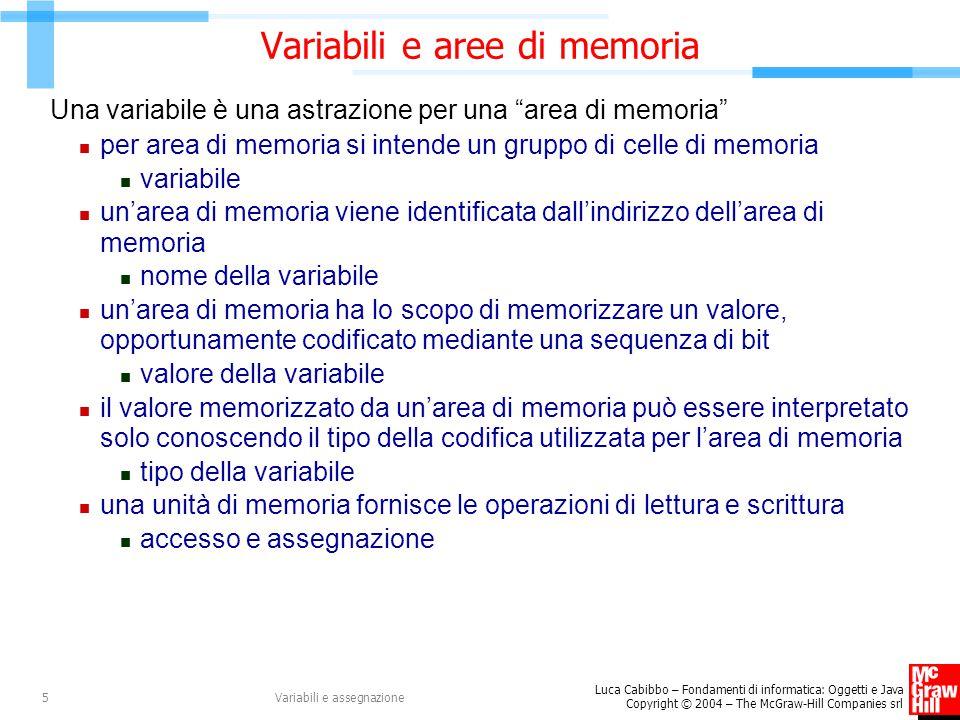 Luca Cabibbo – Fondamenti di informatica: Oggetti e Java Copyright © 2004 – The McGraw-Hill Companies srl Variabili e assegnazione5 Variabili e aree d