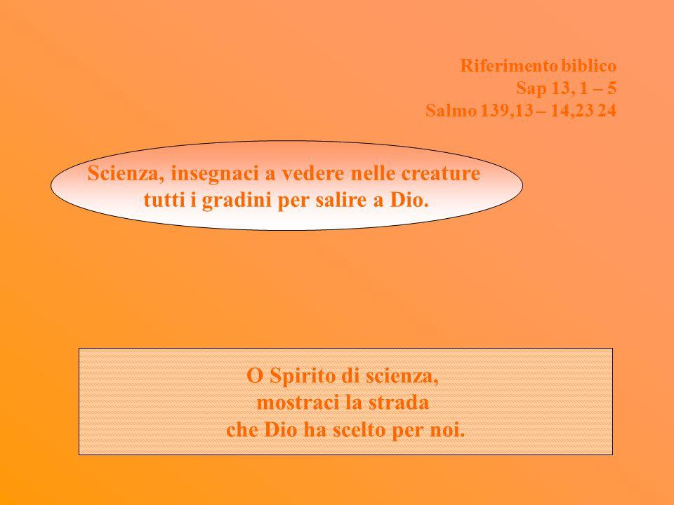 Riferimento biblico Sap 13, 1 – 5 Salmo 139,13 – 14,23 24 Scienza, insegnaci a vedere nelle creature tutti i gradini per salire a Dio.