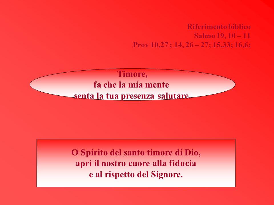 Riferimento biblico Salmo 19, 10 – 11 Prov 10,27 ; 14, 26 – 27; 15,33; 16,6; Timore, fa che la mia mente senta la tua presenza salutare. O Spirito del