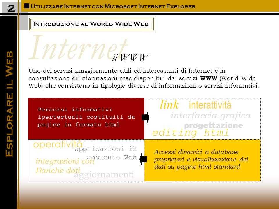Introduzione al World Wide Web Utilizzare Internet con Microsoft Internet Explorer Esplorare il Web 2 Uno dei servizi maggiormente utili ed interessanti di Internet è la consultazione di informazioni rese disponibili dai servizi WWW (World Wide Web) che consistono in tipologie diverse di informazioni o servizi informativi.