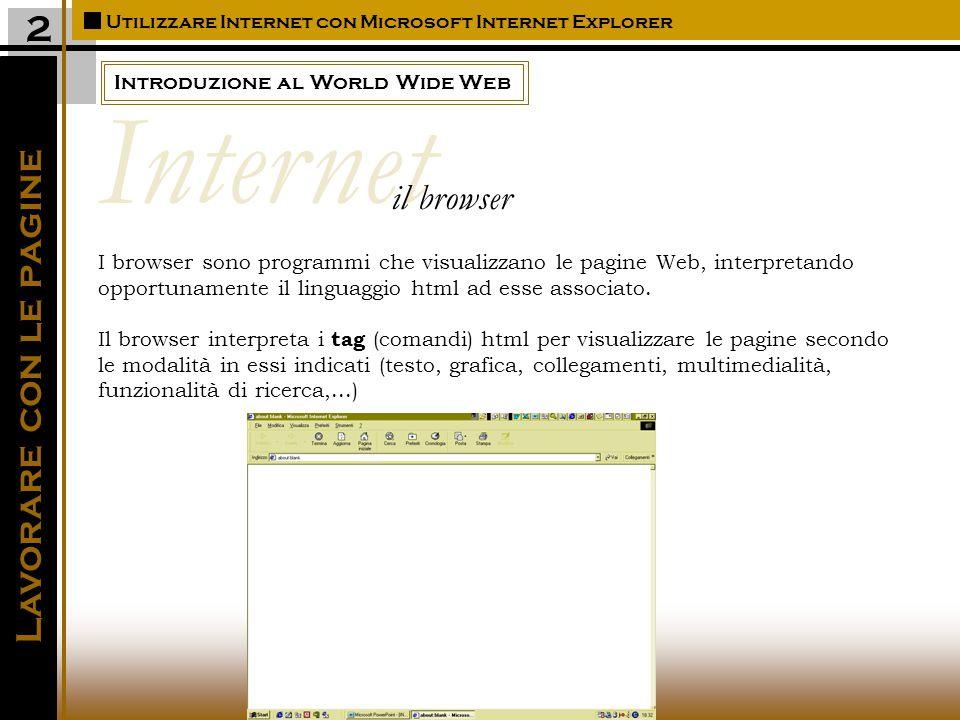 Introduzione al World Wide Web Utilizzare Internet con Microsoft Internet Explorer Lavorare con le pagine 2 I browser sono programmi che visualizzano le pagine Web, interpretando opportunamente il linguaggio html ad esse associato.
