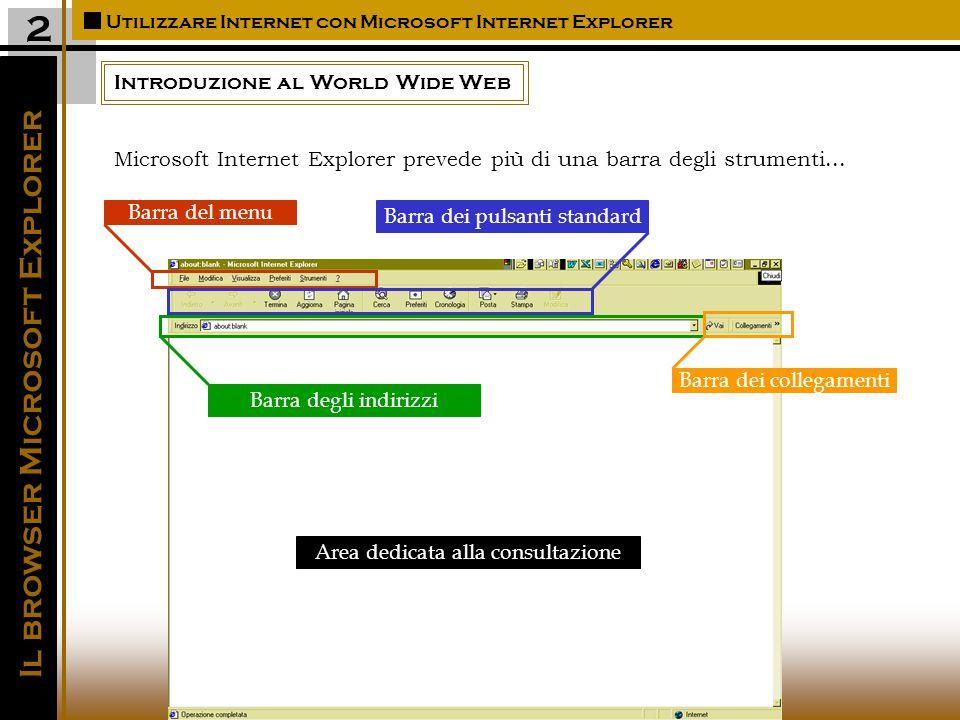 Introduzione al World Wide Web Utilizzare Internet con Microsoft Internet Explorer Il browser Microsoft Explorer 2 Barra del menu Barra dei pulsanti standard Barra degli indirizzi Barra dei collegamenti Area dedicata alla consultazione Microsoft Internet Explorer prevede più di una barra degli strumenti...