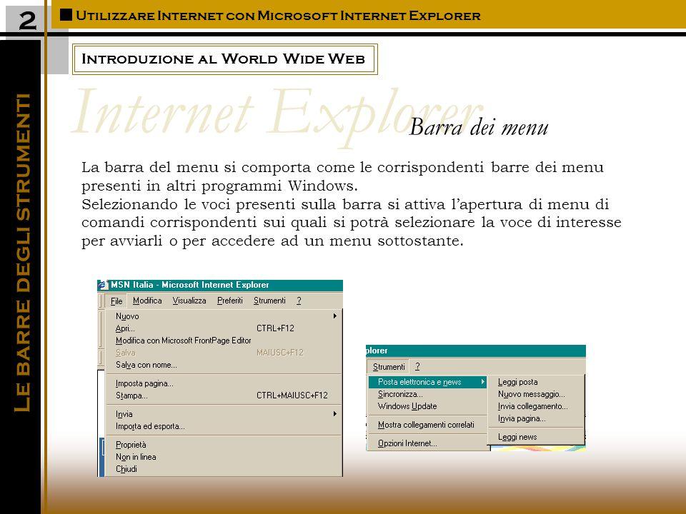 Introduzione al World Wide Web Utilizzare Internet con Microsoft Internet Explorer Le barre degli strumenti 2 La barra del menu si comporta come le corrispondenti barre dei menu presenti in altri programmi Windows.