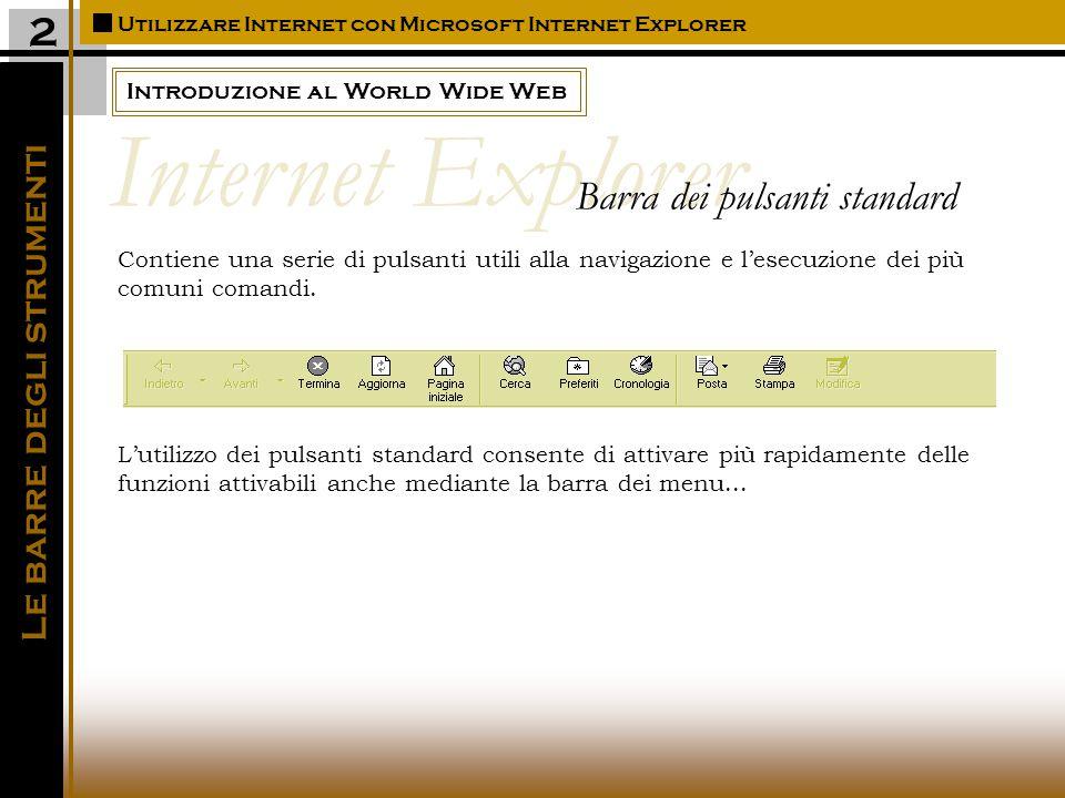 Introduzione al World Wide Web Utilizzare Internet con Microsoft Internet Explorer 2 Contiene una serie di pulsanti utili alla navigazione e l'esecuzione dei più comuni comandi.