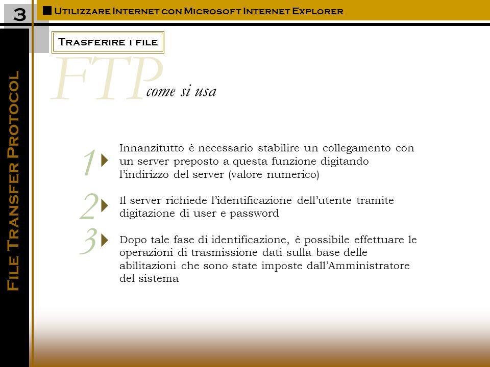 Trasferire i file Utilizzare Internet con Microsoft Internet Explorer 3 File Transfer Protocol Innanzitutto è necessario stabilire un collegamento con un server preposto a questa funzione digitando l'indirizzo del server (valore numerico) Il server richiede l'identificazione dell'utente tramite digitazione di user e password Dopo tale fase di identificazione, è possibile effettuare le operazioni di trasmissione dati sulla base delle abilitazioni che sono state imposte dall'Amministratore del sistema    1 2 3 FTP come si usa