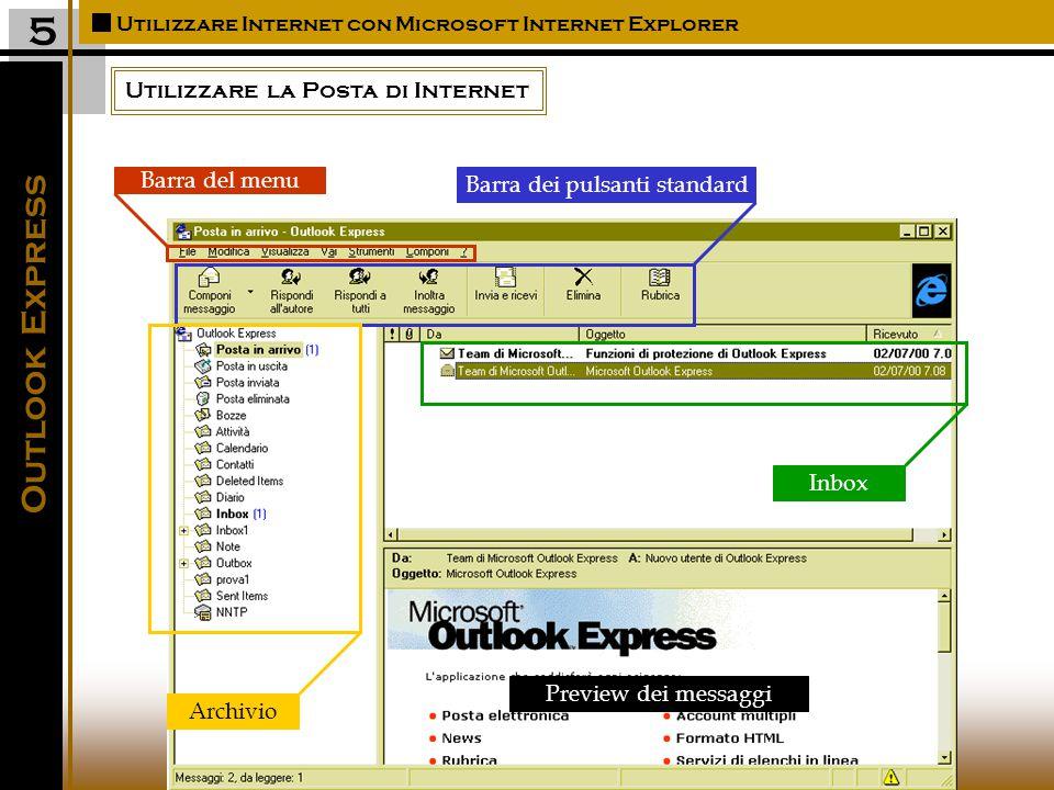 Utilizzare la Posta di Internet Utilizzare Internet con Microsoft Internet Explorer 5 Outlook Express Barra del menu Barra dei pulsanti standard Inbox Archivio Preview dei messaggi
