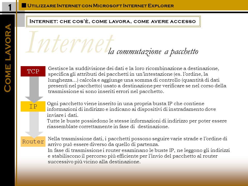 Internet: che cos'è, come lavora, come avere accesso Utilizzare Internet con Microsoft Internet Explorer Come avere accesso Essere collegati ad Internet significa avere accesso all'insieme di reti collegate fra loro mediante percorsi che facilitano lo scambio di informazioni, messaggi, dati, file,....