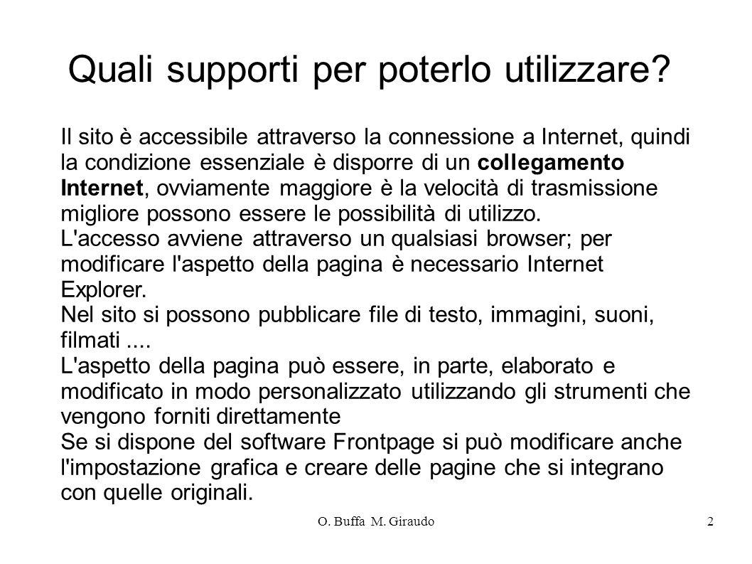 O. Buffa M. Giraudo2 Quali supporti per poterlo utilizzare.