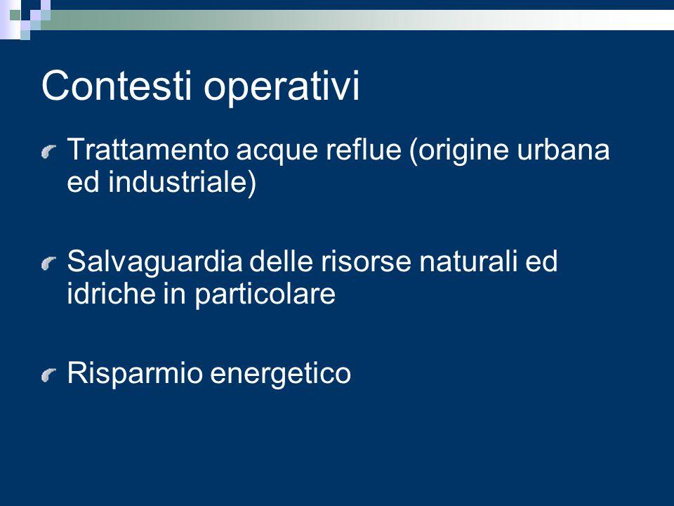 Contesti operativi Trattamento acque reflue (origine urbana ed industriale) Salvaguardia delle risorse naturali ed idriche in particolare Risparmio en