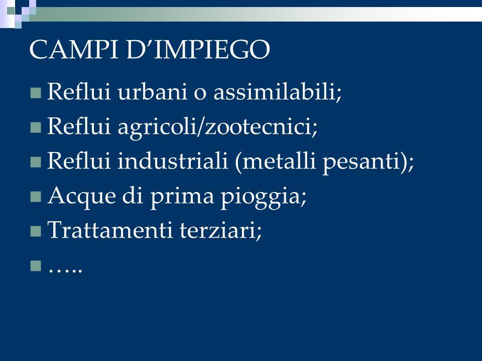 CAMPI D'IMPIEGO Reflui urbani o assimilabili; Reflui agricoli/zootecnici; Reflui industriali (metalli pesanti); Acque di prima pioggia; Trattamenti te