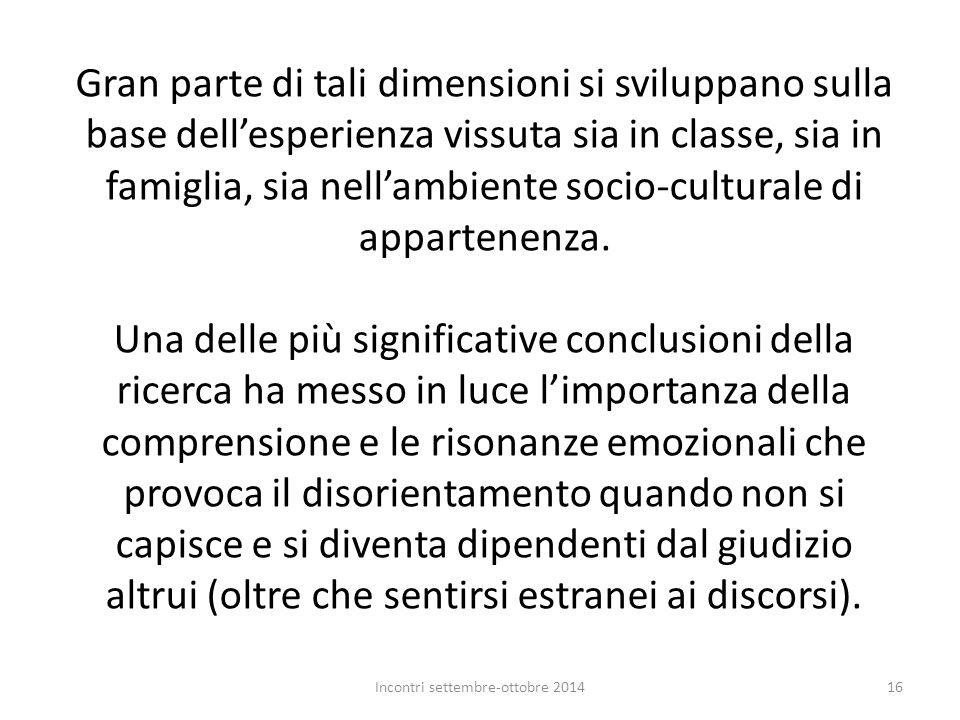 Gran parte di tali dimensioni si sviluppano sulla base dell'esperienza vissuta sia in classe, sia in famiglia, sia nell'ambiente socio-culturale di ap