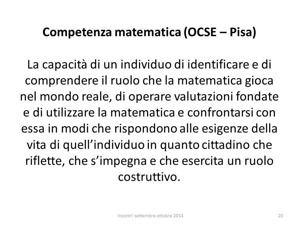 Competenza matematica (OCSE – Pisa) La capacità di un individuo di identificare e di comprendere il ruolo che la matematica gioca nel mondo reale, di